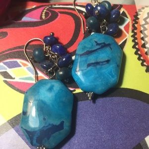 Beautiful Howlite  Nugget and Lapis Earrings